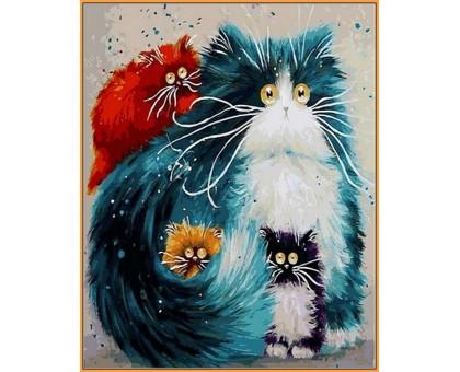 Картина по номерам Мама кошка (в раме)