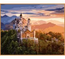 Картина по номерам Замок в лучах заката (в раме)