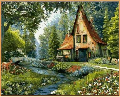 Картина по номерам Дом на опушке леса (в раме)