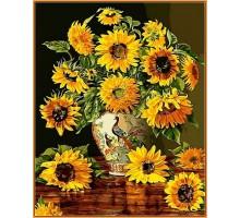Картина по номерам Подсолнухи в вазе с павлинами (в раме)