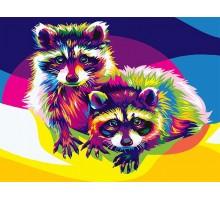 Картина по номерам Радужные еноты