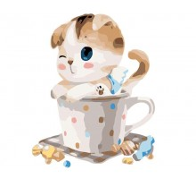 Картина по номерам Котенок в чашке