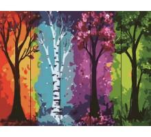 Картина по номерам на дереве  Времена года