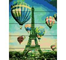Картина по номерам на дереве  Воздушные шары