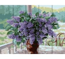 Картина по номерам на дереве  Сирень в вазе