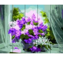 Картина по номерам на дереве  Сирень у окна