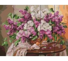 Картина по номерам на дереве  Сирень на столике
