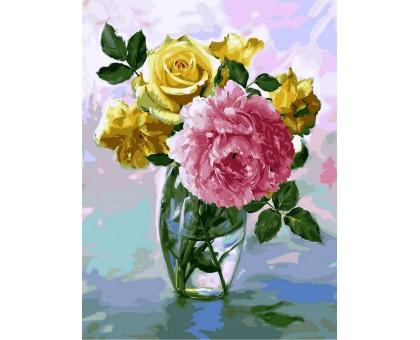 Картина по номерам Букет с розовым пионом