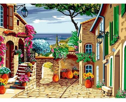 Картина по номерам Цветущий дворик