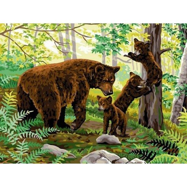 Картина по номерам Медвежата на прогулке