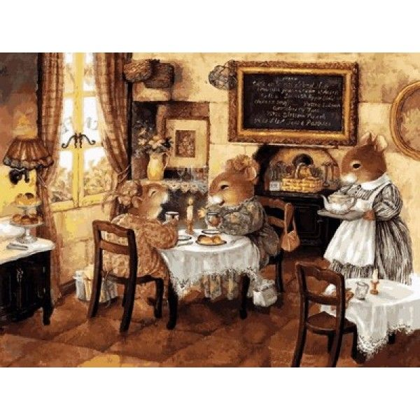 Картина по номерам Мышиное кафе