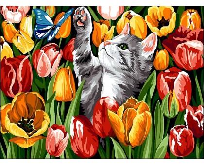 Картина по номерам Котенок в тюльпанах