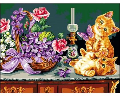 Картина по номерам Рыжие котята