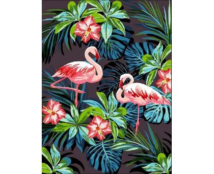 Картина по номерам Фламинго в цветах