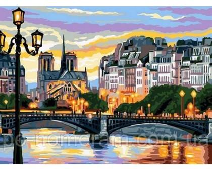 Раскраска картина Вечерний город