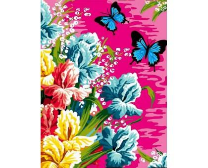 Картина по номерам Ирисы и бабочки