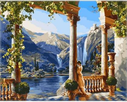 Картина по номерам Девушка у водопада