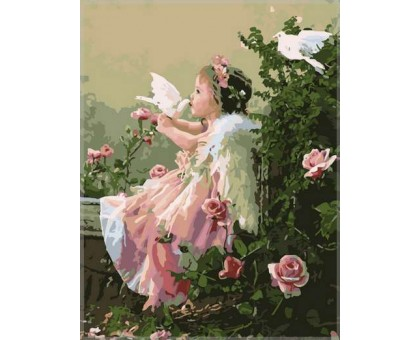 Картина по номерам Ангелочек с голубями