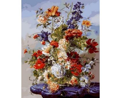Картина по номерам Букет на пурпурном столике