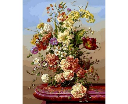 Картина по номерам Пионы с полевыми цветами