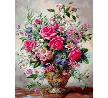 Картина по номерам Букет роз и полевых цветов