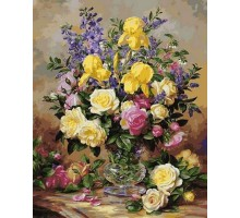 Картина по номерам Желтые ирисы и розы