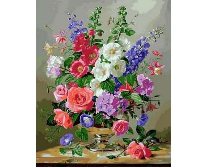 Картина по номерам Дельфиниум и коралловые розы