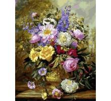 Картина по номерам Букет белых и желтых роз