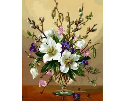 Картина по номерам Белоснежные цветы