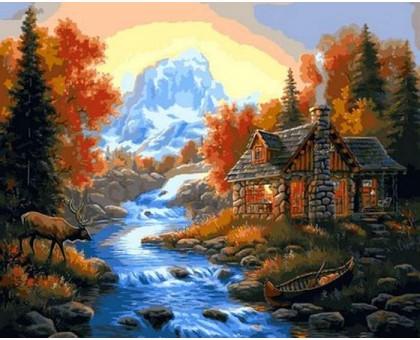 Картина по номерам Домик у горной речки