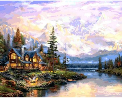 Картина по номерам Дом у горного озера