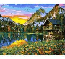 Картина по номерам Деревня у горного озера