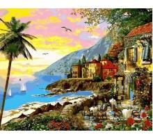 Картина по номерам Городок в лучах заката