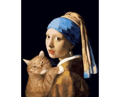 Картина по номерам Девушка с жемчужной сережкой с котом