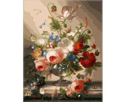Картина по номерам Цветочный натюрморт с виноградом