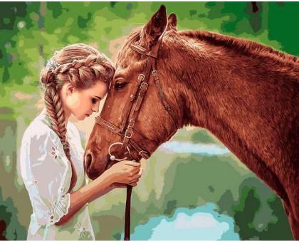 Картина по номерам Девушка и лошадь