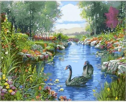 Картина по номерам Черные лебеди