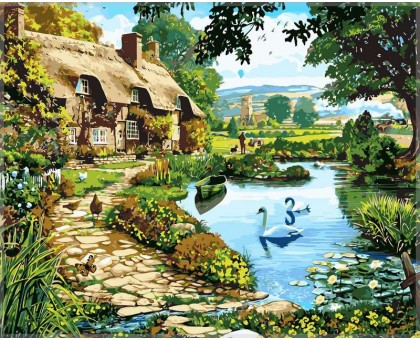 Картина по номерам Коттедж у озера
