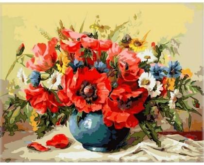 Картина по номерам Маки с полевыми цветами