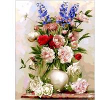 Картина по номерам Букет в белой вазе