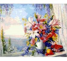 Картина по номерам Лилии на окне с видом на море
