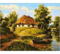 Картина по номерам Домик возле пруда
