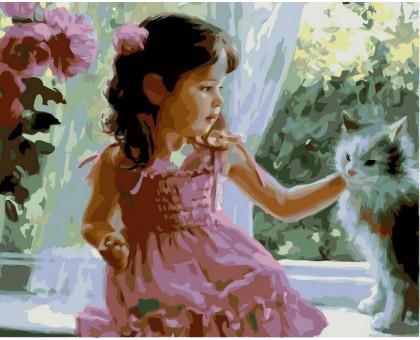 Картина по номерам Девочка и кот