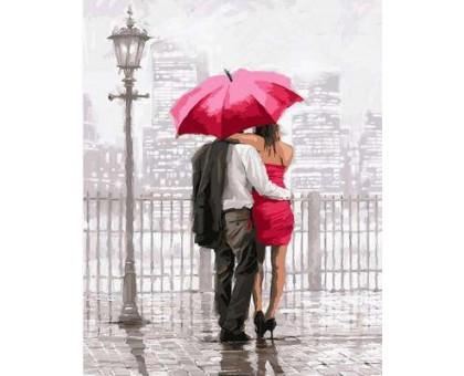 Картина по номерам Влюбленные под красным зонтом