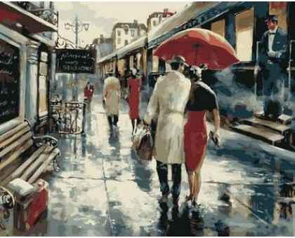 Картина по номерам Прогулка под дождем