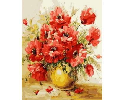 Картина по номерам Маки в желтой вазе