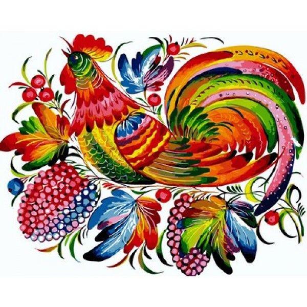 Картина по номерам Радужный петух