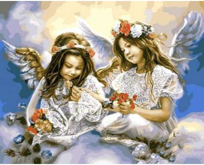 Картина по номерам Ангелочки с маками