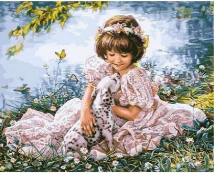 Картина по номерам Девочка с далматинцем