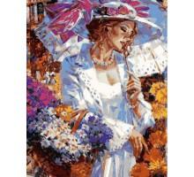 Картина по номерам Дама с корзинкой ромашек